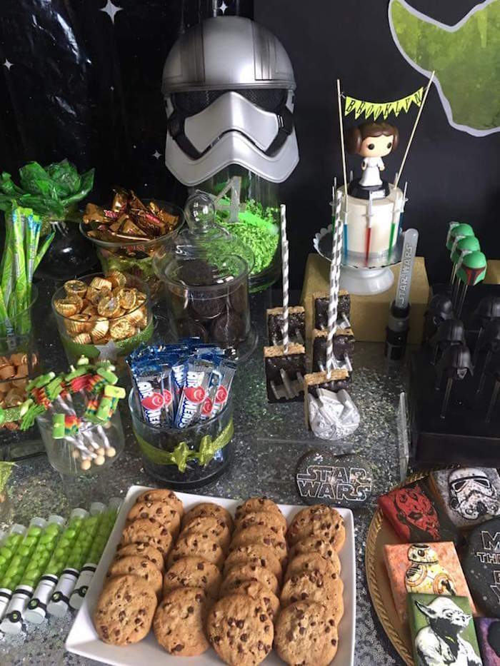 """Party table details from a """"May Their Fourth Be With You"""" Star Wars 4th Birthday Party for Twins on Kara's Party Ideas 