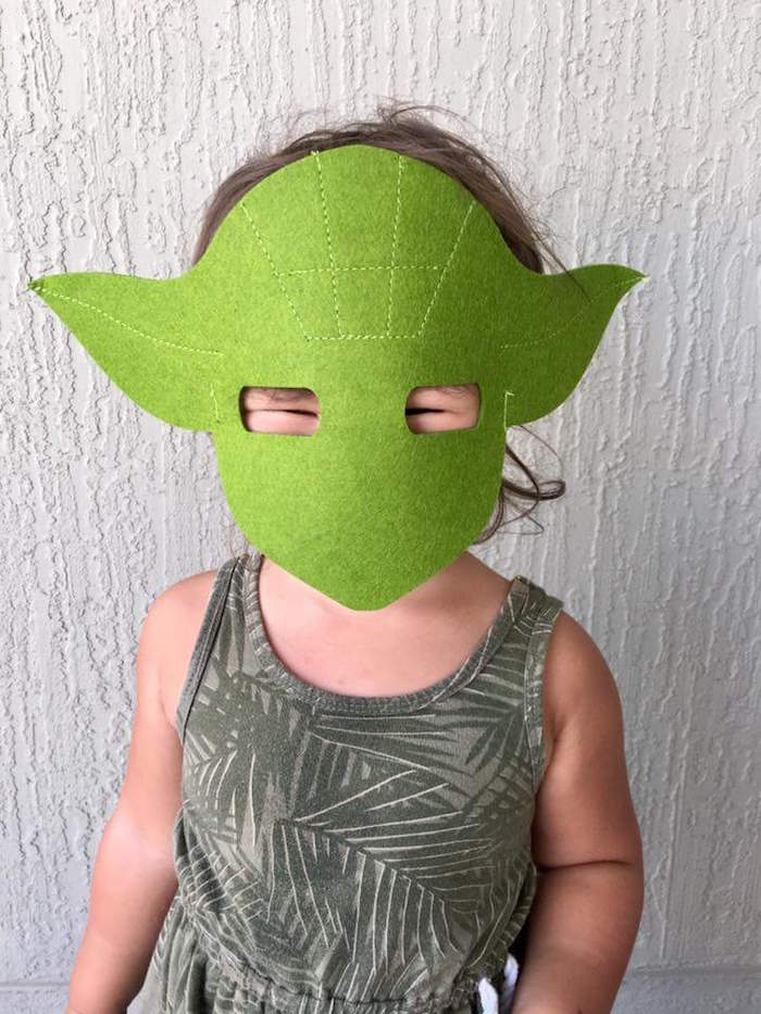 """Yoda mask from a """"May Their Fourth Be With You"""" Star Wars 4th Birthday Party for Twins on Kara's Party Ideas 
