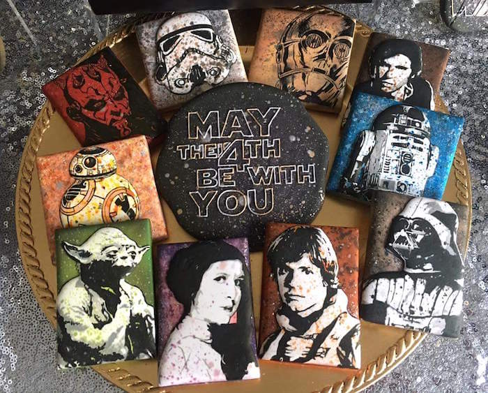 """Star Wars Cookies from a """"May Their Fourth Be With You"""" Star Wars 4th Birthday Party for Twins on Kara's Party Ideas 