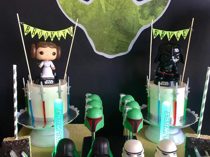 """Star Wars Cakes from a """"May Their Fourth Be With You"""" Star Wars 4th Birthday Party for Twins on Kara's Party Ideas 