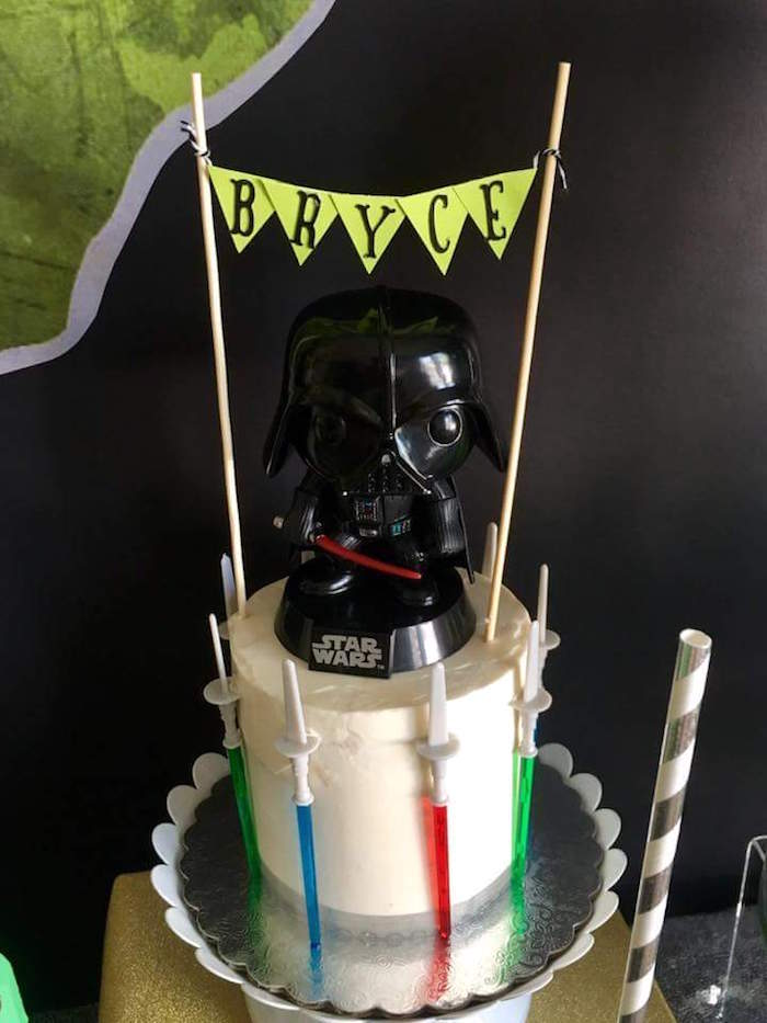 """Darth Vader Cake from a """"May Their Fourth Be With You"""" Star Wars 4th Birthday Party for Twins on Kara's Party Ideas 