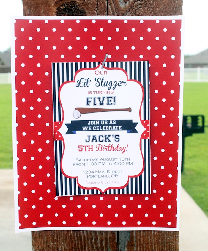 "Invitation from a ""Slugger Sleepover"" Baseball Birthday Party on Kara's Party Ideas 