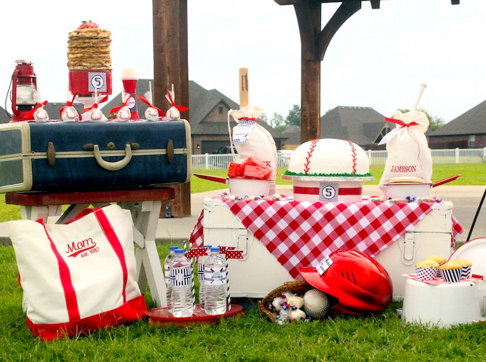 "Baseball party spread from a ""Slugger Sleepover"" Baseball Birthday Party on Kara's Party Ideas 