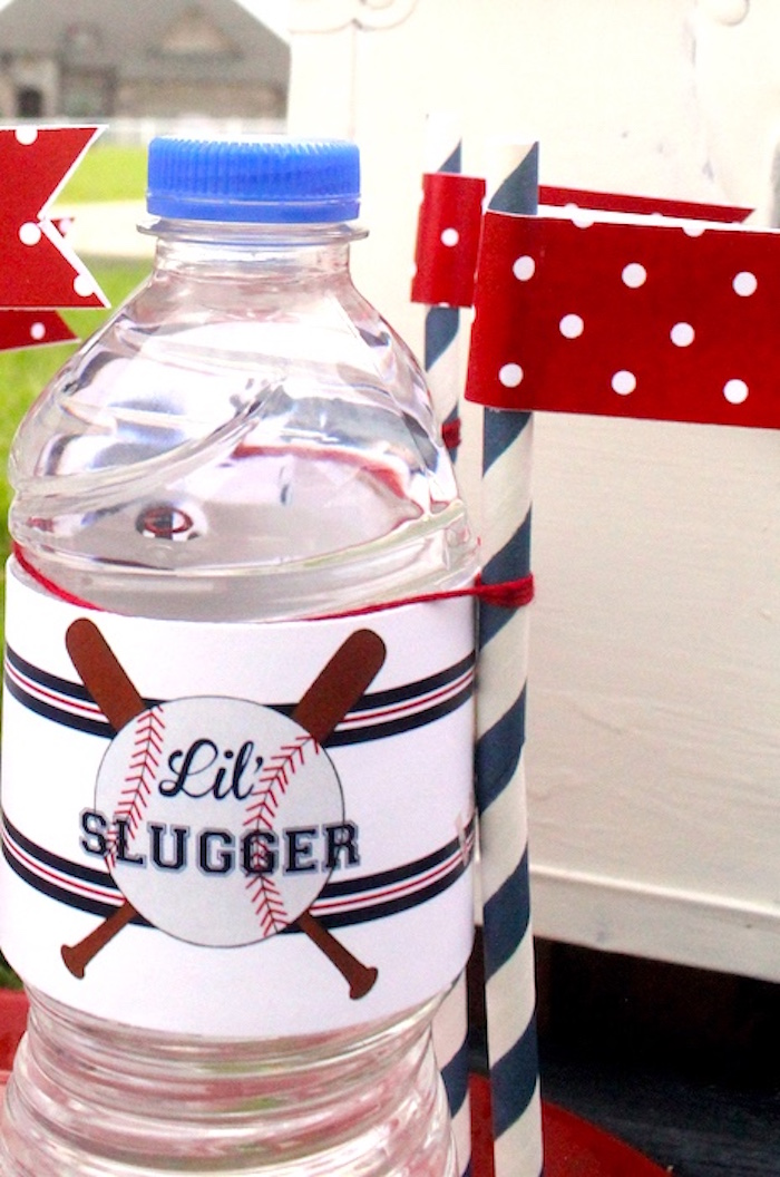 Water bottle from a Slugger Sleepover Baseball Birthday Party on Kara's Party Ideas | KarasPartyIdeas.com