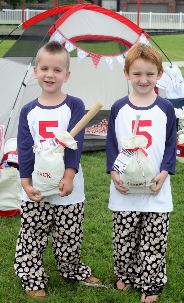 "Custom favor sacks and pajamas from a ""Slugger Sleepover"" Baseball Birthday Party on Kara's Party Ideas 