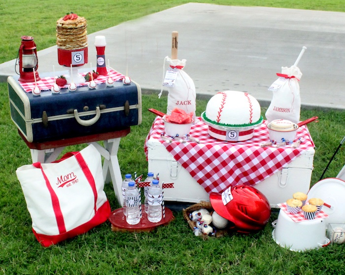"Dessert + party spread from a ""Slugger Sleepover"" Baseball Birthday Party on Kara's Party Ideas 