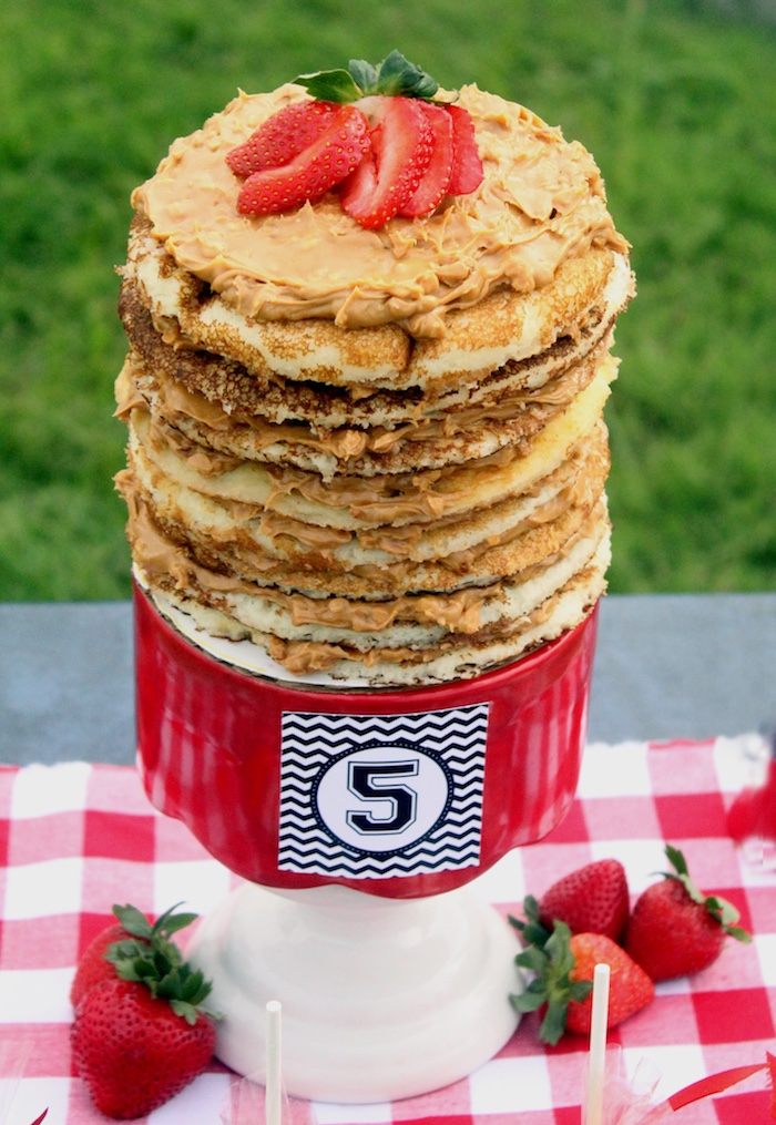 "Stacked pancake cake from a ""Slugger Sleepover"" Baseball Birthday Party on Kara's Party Ideas 