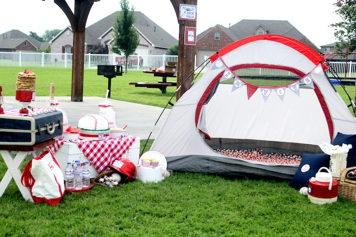 "Baseball camp site from a ""Slugger Sleepover"" Baseball Birthday Party on Kara's Party Ideas 