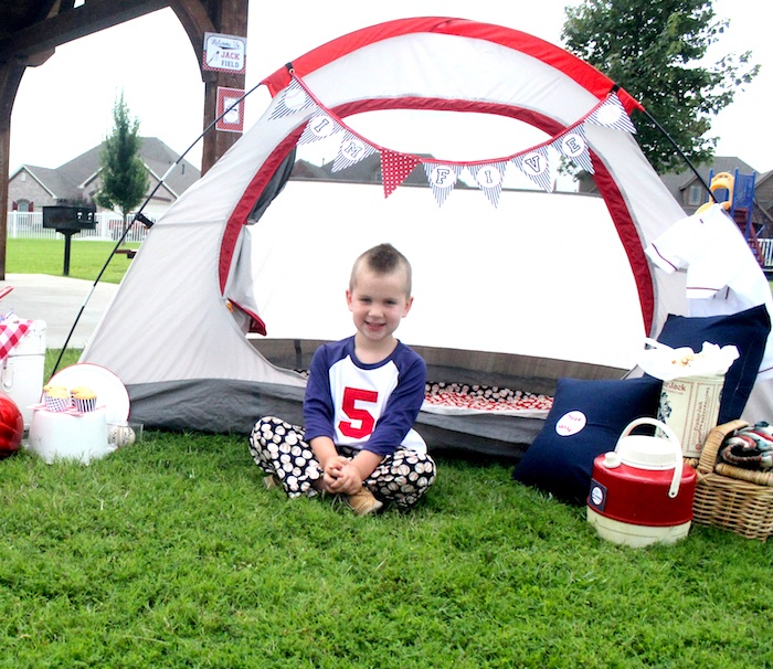 "Baseball camp-site from a ""Slugger Sleepover"" Baseball Birthday Party on Kara's Party Ideas 