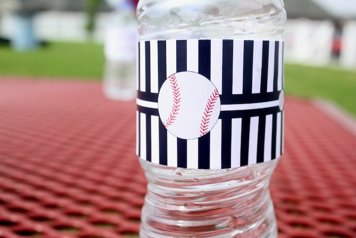 "Baseball water bottle label from a ""Slugger Sleepover"" Baseball Birthday Party on Kara's Party Ideas 