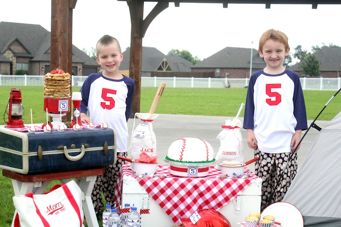 "Cake table from a ""Slugger Sleepover"" Baseball Birthday Party on Kara's Party Ideas 