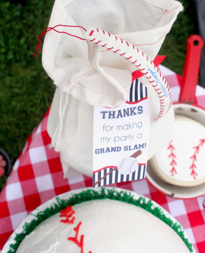 "Personalized gift bags from a ""Slugger Sleepover"" Baseball Birthday Party on Kara's Party Ideas 