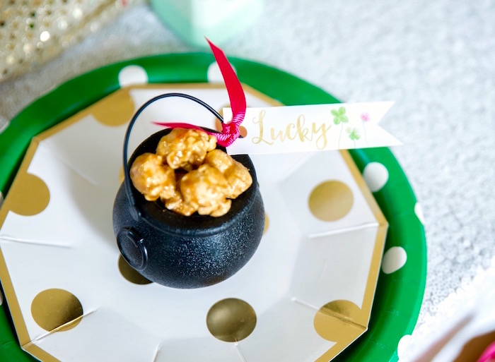 """""""Pot 'o Gold"""" caramel popcorn from a """"Stay Golden"""" St. Patrick's Day Party on Kara's Party Ideas   KarasPartyIdeas.com (30)"""