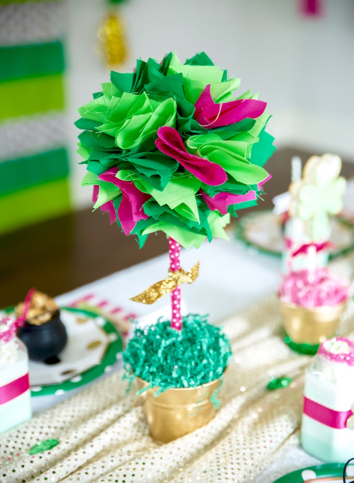 "Pink and green ""tree"" table centerpiece from a ""Stay Golden"" St. Patrick's Day Party on Kara's Party Ideas 