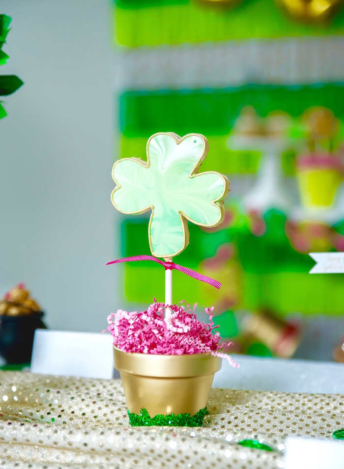 "Shamrock Cookie Pop Centerpiece from a ""Stay Golden"" St. Patrick's Day Party on Kara's Party Ideas 