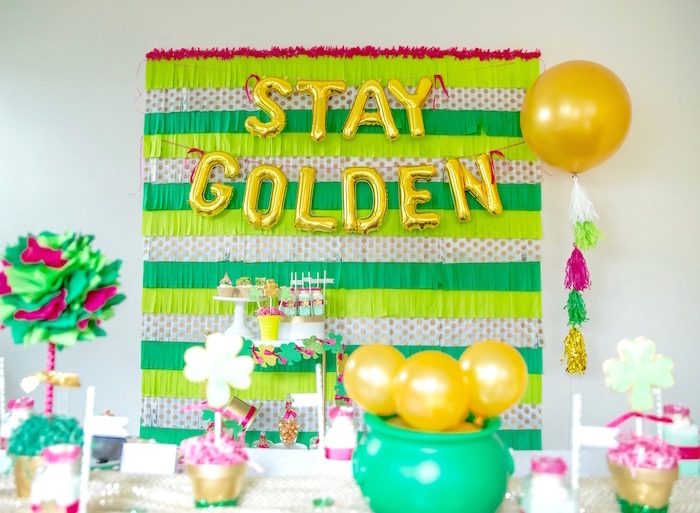 "St. Patricks Day Party Backdrop from a ""Stay Golden"" St. Patrick's Day Party on Kara's Party Ideas 