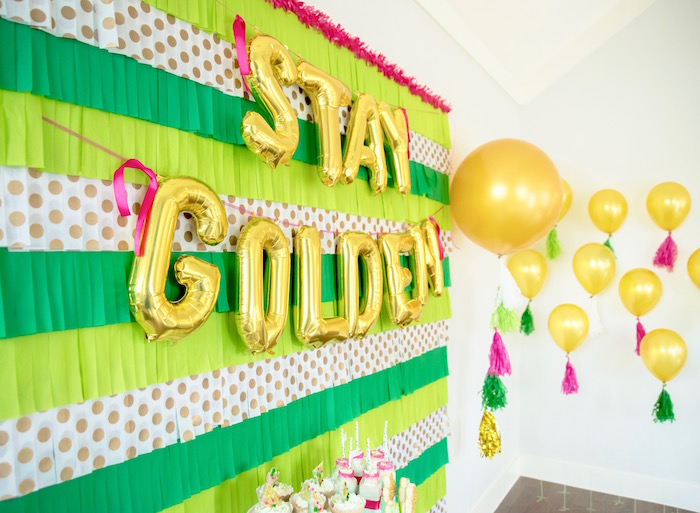 "Balloon banner + bunting from a ""Stay Golden"" St. Patrick's Day Party on Kara's Party Ideas 