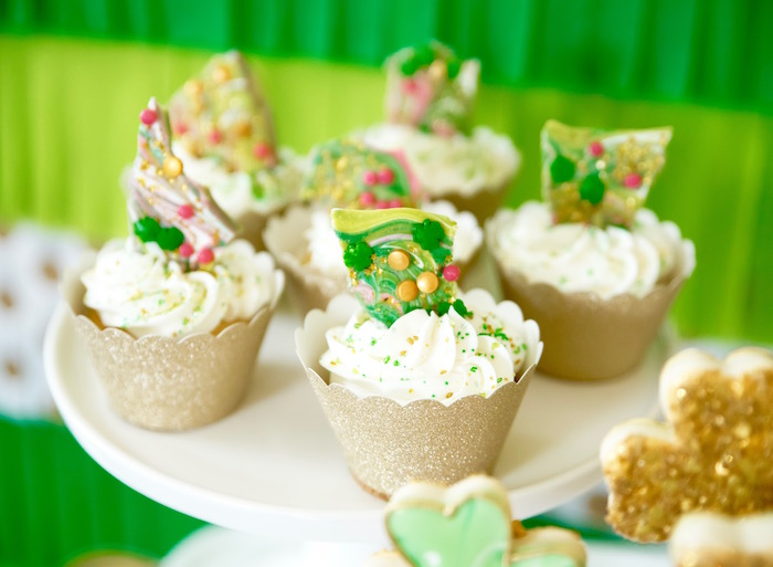 "St. Patricks Day Cupcakes from a ""Stay Golden"" St. Patrick's Day Party on Kara's Party Ideas 