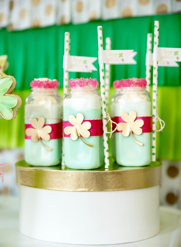 "St. Patricks Day Milk Bottles from a ""Stay Golden"" St. Patrick's Day Party on Kara's Party Ideas 
