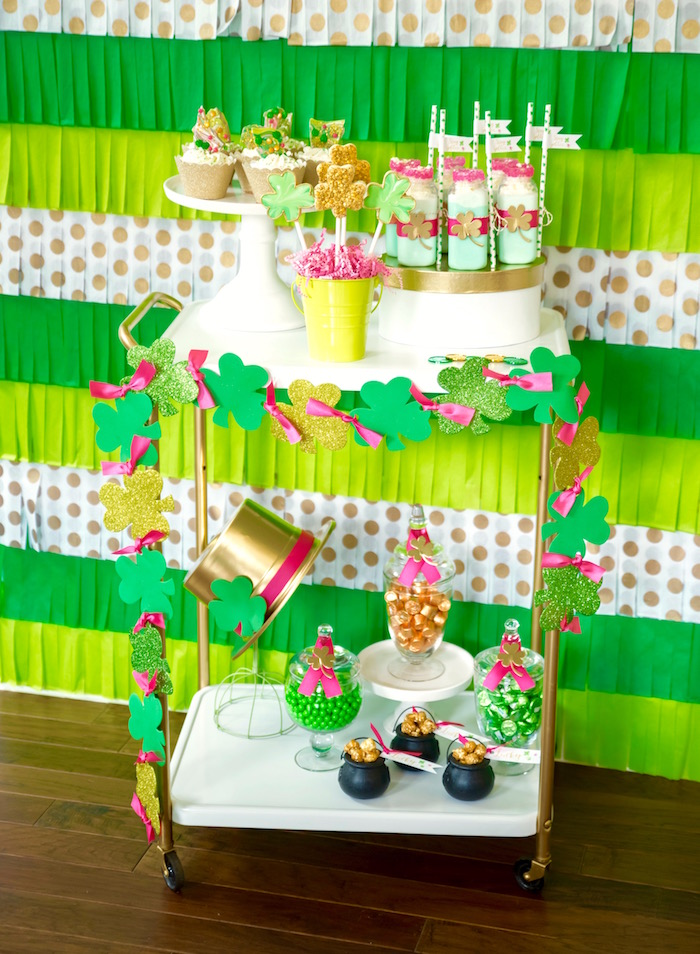 "Dessert cart from a ""Stay Golden"" St. Patrick's Day Party on Kara's Party Ideas 