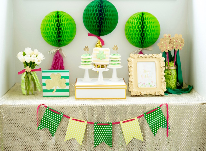 "Party table from a ""Stay Golden"" St. Patrick's Day Party on Kara's Party Ideas 
