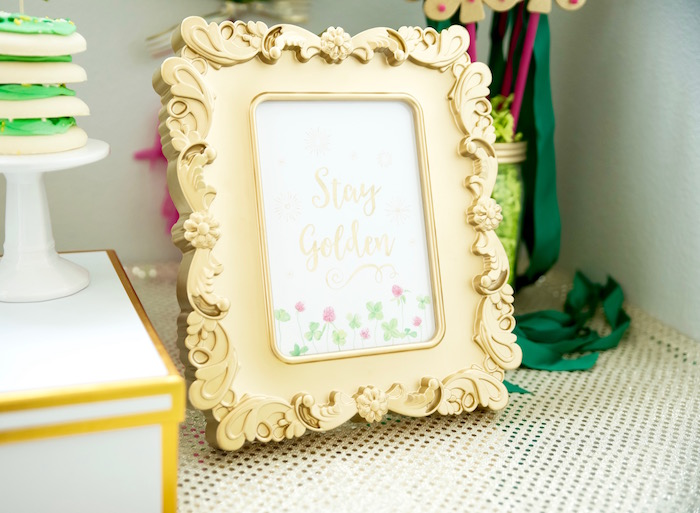 "Framed ""Stay Golden"" print from a ""Stay Golden"" St. Patrick's Day Party on Kara's Party Ideas 