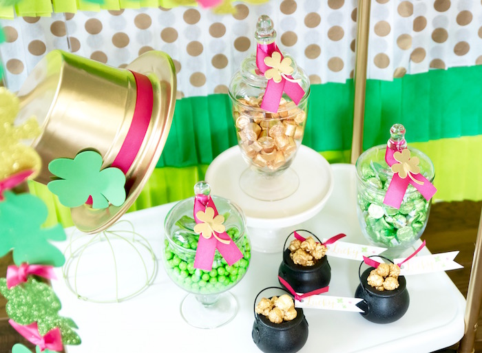 "Snacks + favors from a ""Stay Golden"" St. Patrick's Day Party on Kara's Party Ideas 