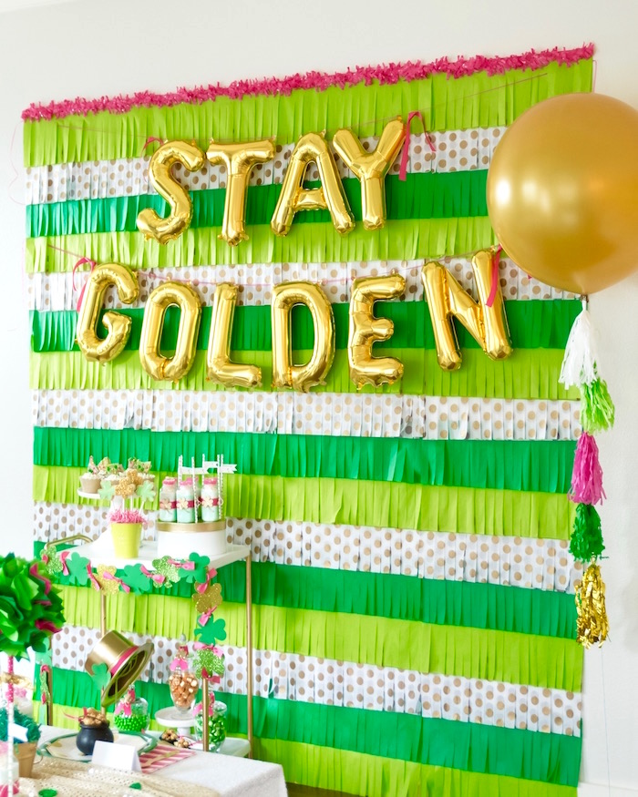 "Stay Golden Party Backdrop from a ""Stay Golden"" St. Patrick's Day Party on Kara's Party Ideas 