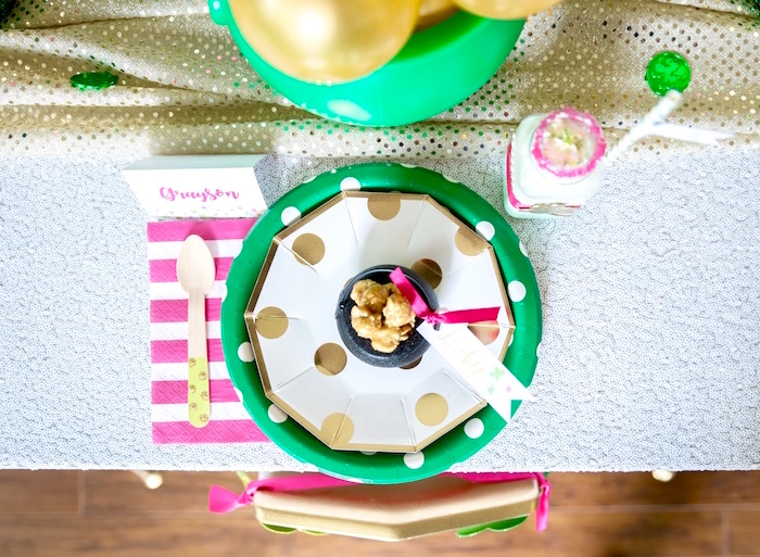 """Place setting from a """"Stay Golden"""" St. Patrick's Day Party on Kara's Party Ideas   KarasPartyIdeas.com (38)"""