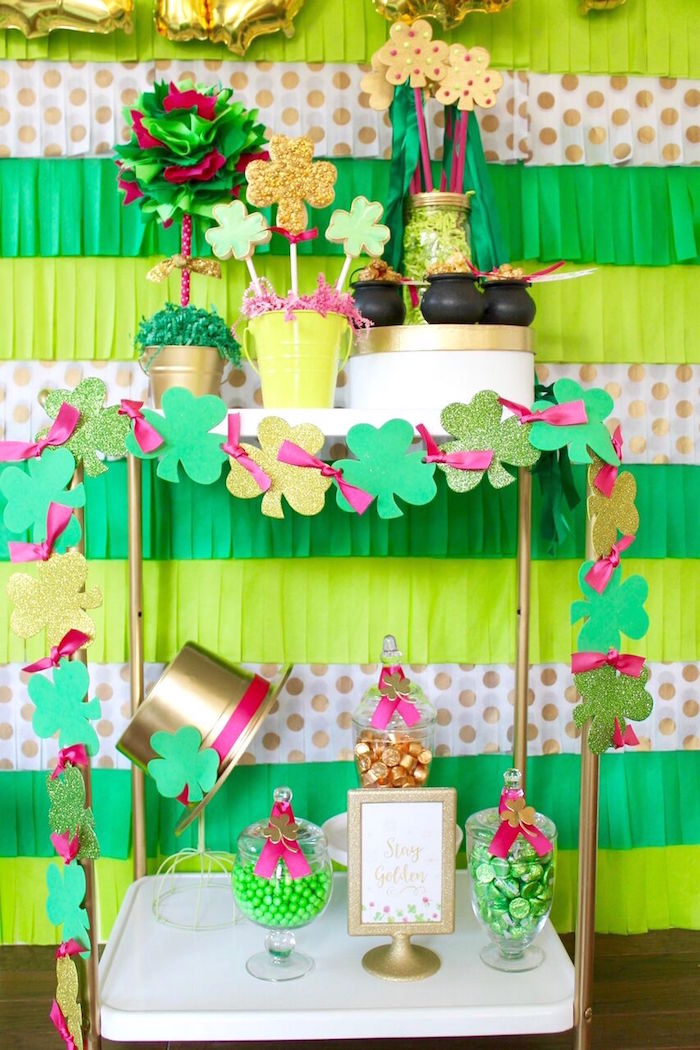 "Candy + favor cart from a ""Stay Golden"" St. Patrick's Day Party on Kara's Party Ideas 