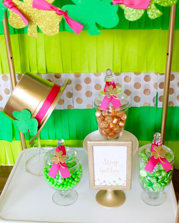"Candy buffet from a ""Stay Golden"" St. Patrick's Day Party on Kara's Party Ideas 