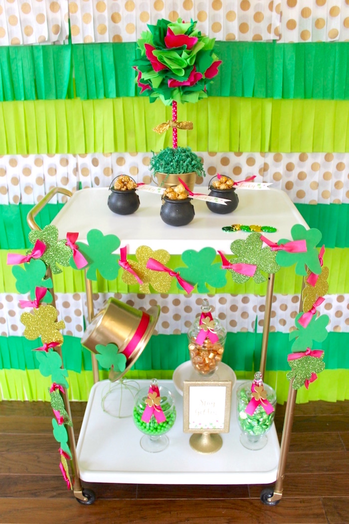 "Candy cart from a ""Stay Golden"" St. Patrick's Day Party on Kara's Party Ideas 