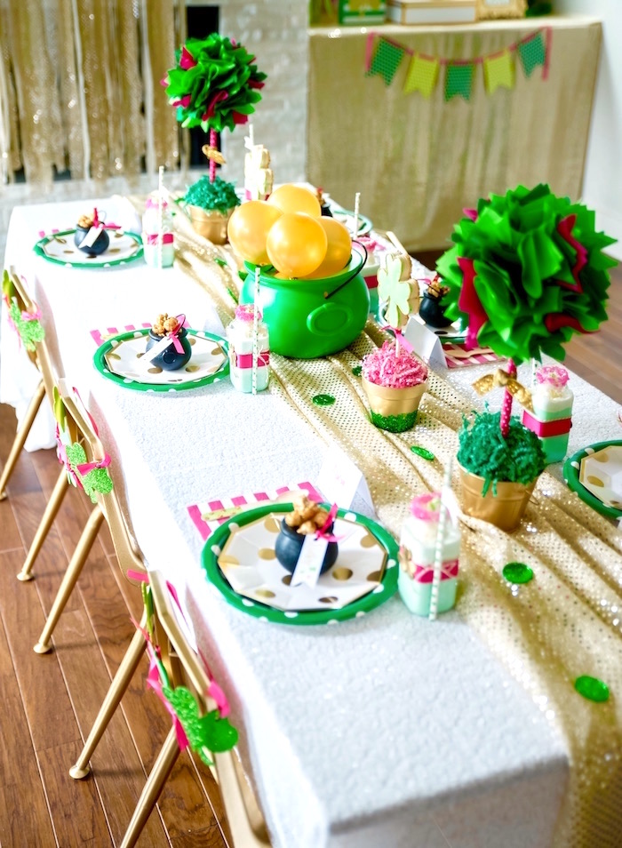 "Guest tablescape from a ""Stay Golden"" St. Patrick's Day Party on Kara's Party Ideas 