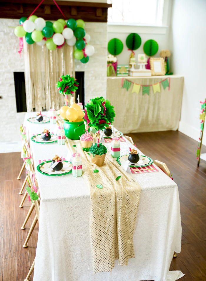 "Guest table from a ""Stay Golden"" St. Patrick's Day Party on Kara's Party Ideas 