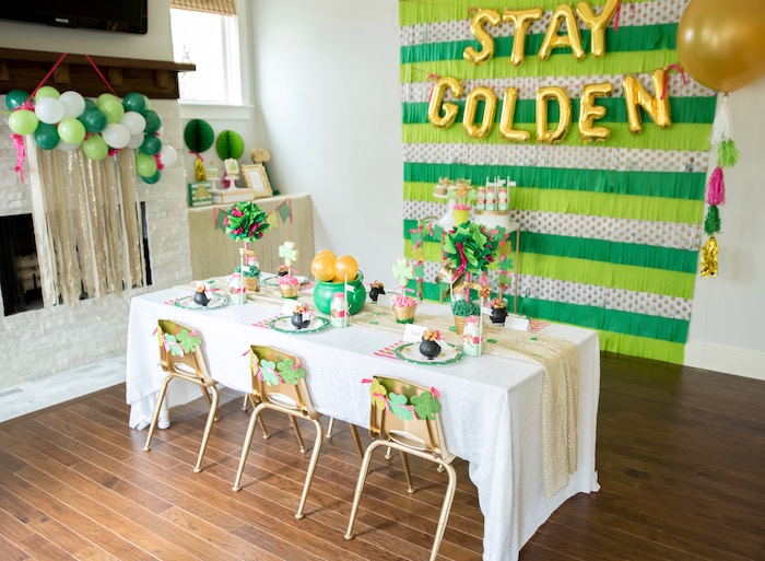 "Partyscape from a ""Stay Golden"" St. Patrick's Day Party on Kara's Party Ideas 