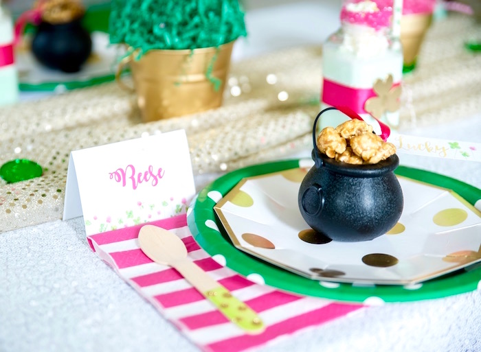 "Place setting from a ""Stay Golden"" St. Patrick's Day Party on Kara's Party Ideas 