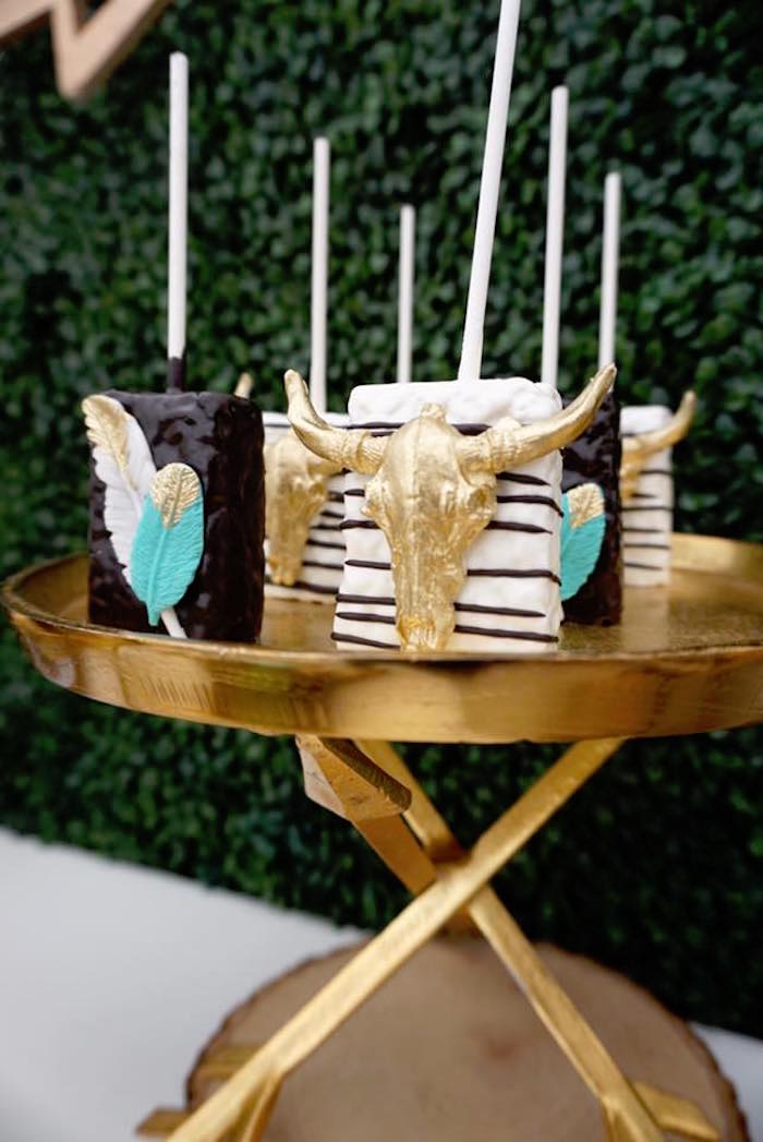 "Crispy Treats from a ""Wild One"" Bohemian Birthday Party on Kara's Party Ideas 