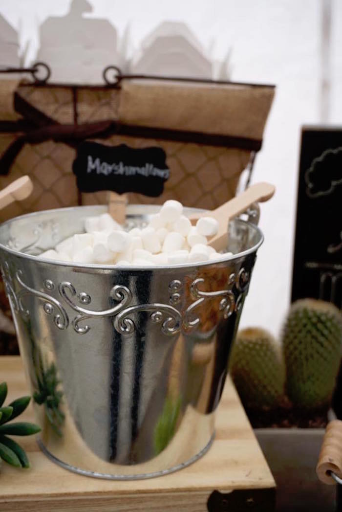 "Pail of marshmallows from a ""Wild One"" Bohemian Birthday Party on Kara's Party Ideas 