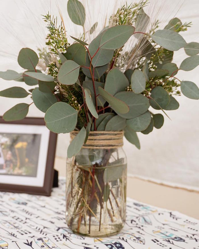 "Leaf floral arrangement from a ""Wild One"" Bohemian Birthday Party on Kara's Party Ideas 