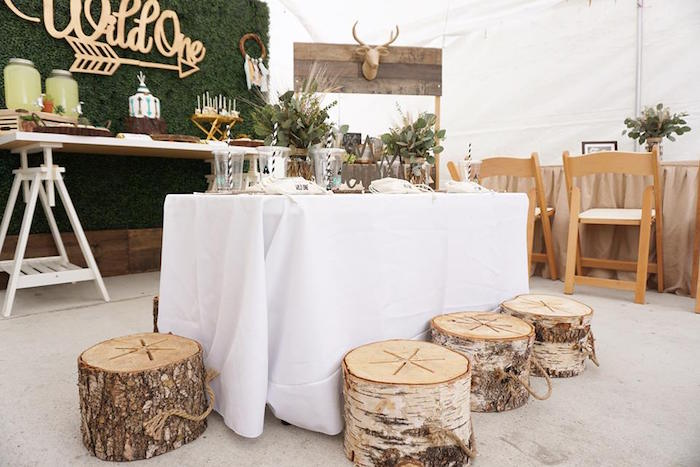 "Guest table + partyscape from a ""Wild One"" Bohemian Birthday Party on Kara's Party Ideas 