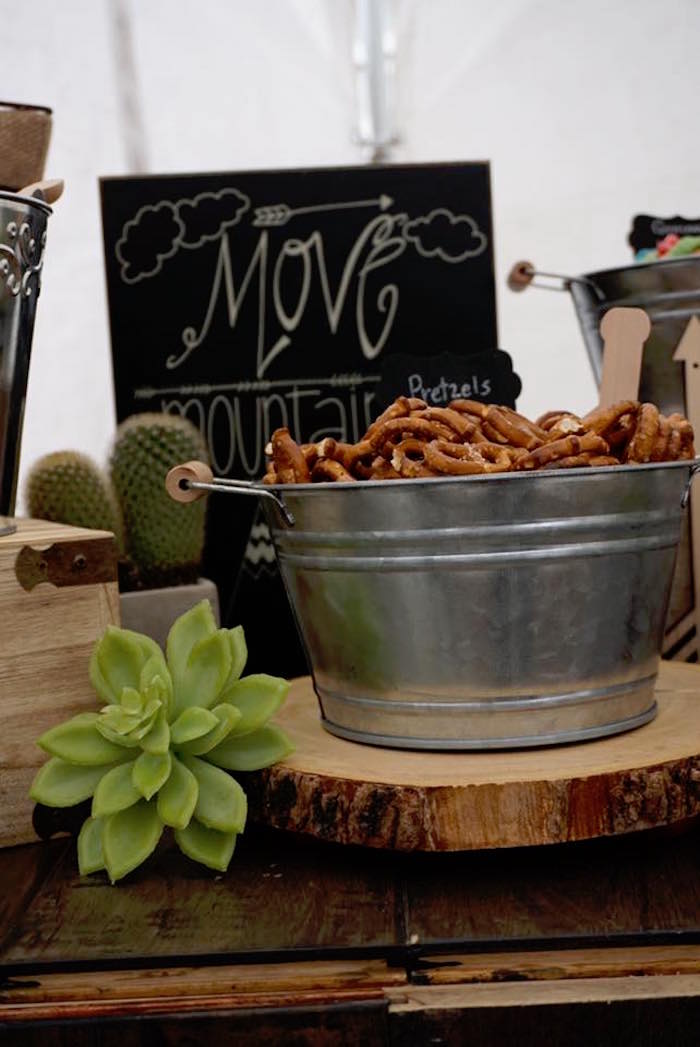 "Snack table from a M&M's from a ""Wild One"" Bohemian Birthday Party on Kara's Party Ideas 