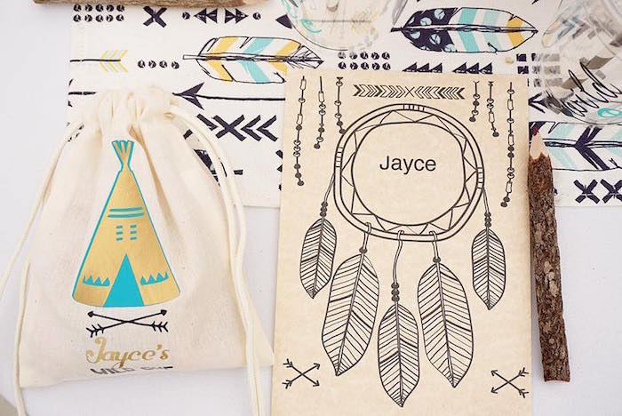 "Favor bags from a""Wild One"" Bohemian Birthday Party on Kara's Party Ideas 
