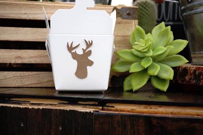 "horned buck favor boxes from a ""Wild One"" Bohemian Birthday Party on Kara's Party Ideas 