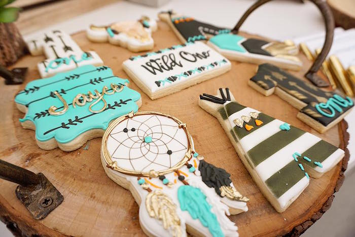"Boho birthday cookies from a ""Wild One"" Bohemian Birthday Party on Kara's Party Ideas 