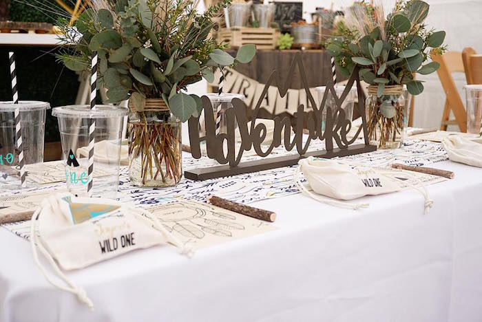 "Guest tablescape from a ""Wild One"" Bohemian Birthday Party on Kara's Party Ideas 