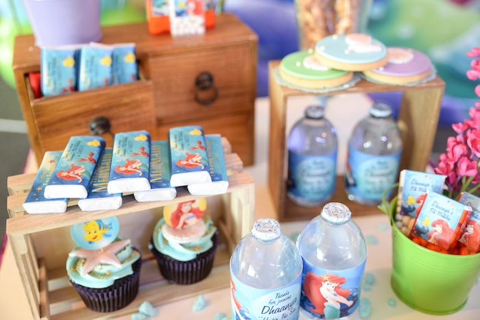 Little Mermaid favors + sweets from an Ariel the Little Mermaid Birthday Party on Kara's Party Ideas | KarasPartyIdeas.com (13)