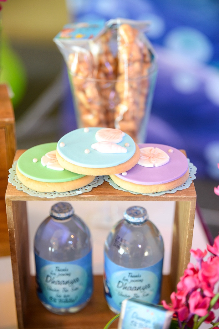 Sea shell cookies from an Ariel the Little Mermaid Birthday Party on Kara's Party Ideas | KarasPartyIdeas.com (11)