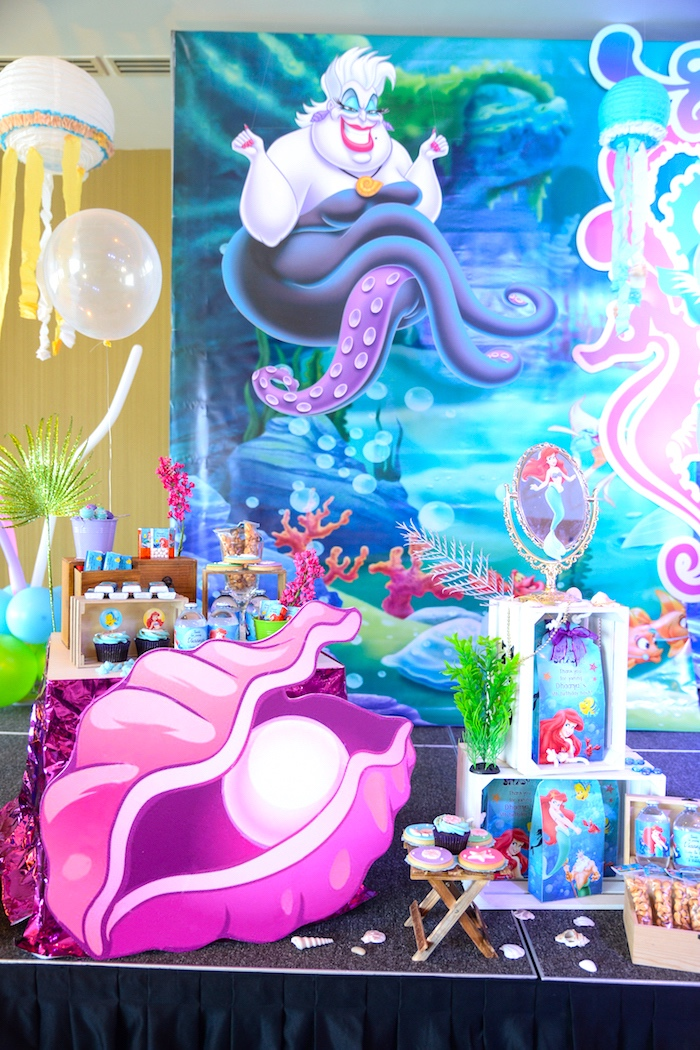 Dessert spread from an Ariel the Little Mermaid Birthday Party on Kara's Party Ideas | KarasPartyIdeas.com (10)