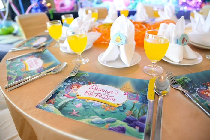 Little Mermaid place setting from an Ariel the Little Mermaid Birthday Party on Kara's Party Ideas | KarasPartyIdeas.com (9)