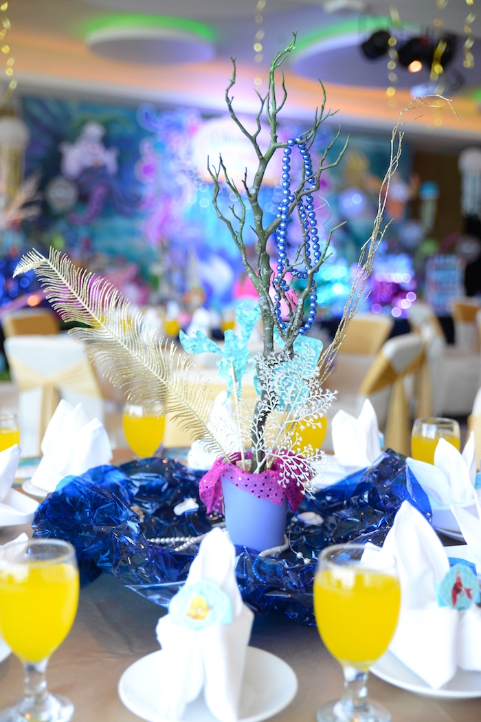 Under the sea table centerpiece from an Ariel the Little Mermaid Birthday Party on Kara's Party Ideas | KarasPartyIdeas.com (7)